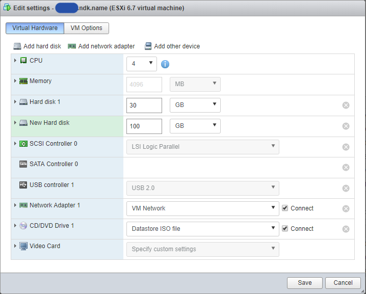 Add new disk to the virtual machine