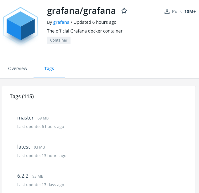 Grafana Docker image tags